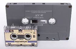 a comparison between a microcassete and a normal audiocassette